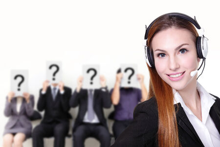 No problem - Smile pretty business woman with headset can answer your question, caucasian photo