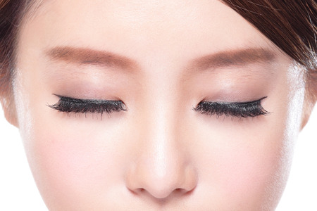 close up of attractive woman closed eyes, asian beauty photo