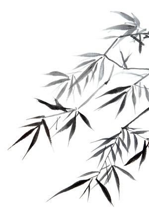 chinese brush: bamboo leaf , traditional chinese calligraphy art isolated on white background  Stock Photo