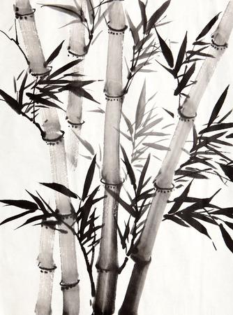 대나무 잎, 흰색 배경에 절연하는 전통적인 중국 달 필 예술