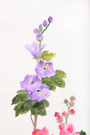 Purple flower,Traditional chinese ink and wash painting  photo