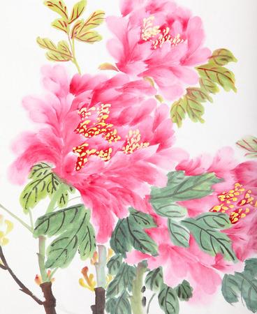 flores chinas: flor de peonía, la pintura tradicional de la tinta y lavado chino