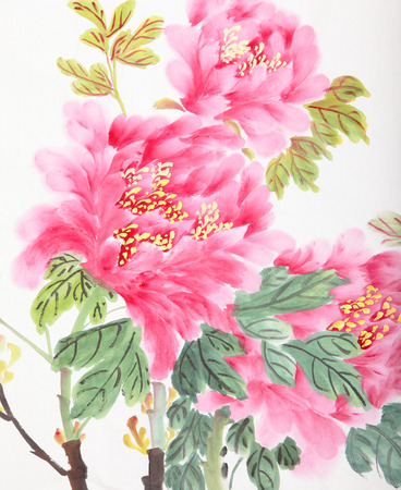 peony flower,Traditional chinese ink and wash painting  Banco de Imagens
