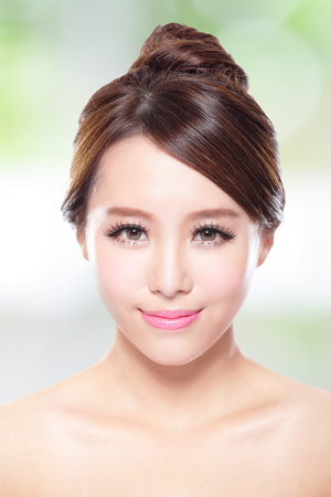 Beautiful woman smile face with clean face skin, photo