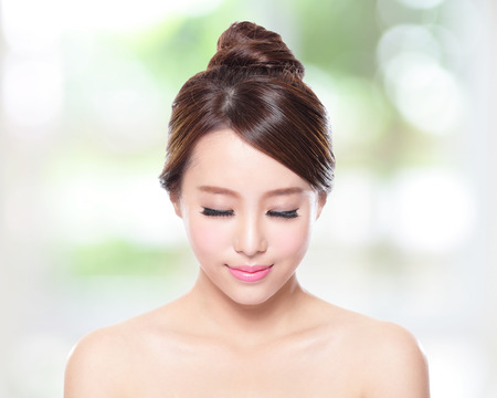 Beautiful woman smile face with clean face skin photo