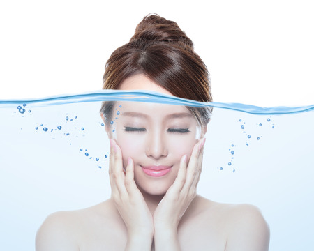 skin care: Portrait of beautiful woman with young clean skin under the water , skin care and moisturizer concept, asian Stock Photo
