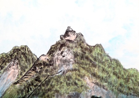 chasm: traditional Chinese painting , mountain