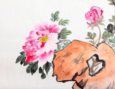 peony flower,Traditional chinese ink and wash painting. photo