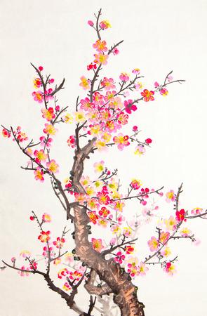 cuadros abstractos: La pintura tradicional china de las flores, la flor del ciruelo, fondo blanco