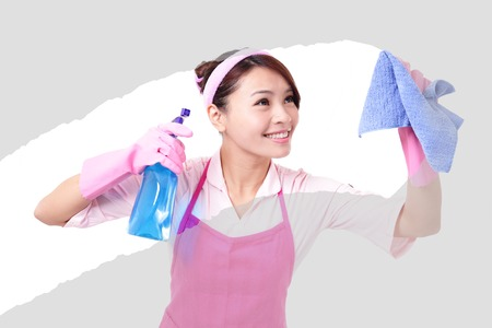 clean the house: young housewife woman mother cleaning,  asian Stock Photo