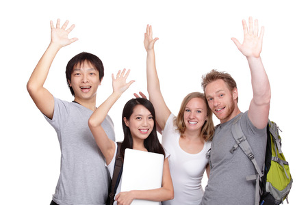 Happy Group of student and friends isolated on white background, asian and caucasian photo