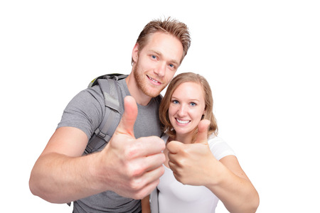 happy couple white background: Portrait of happy couple with thumbs up sign isolated on white background, caucasian