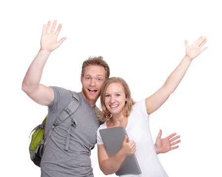 happy student or couple smile looking at camera, isolated over white background, caucasian photo