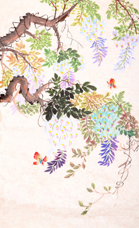 Traditional Chinese painting of flowers and butterfly Фото со стока
