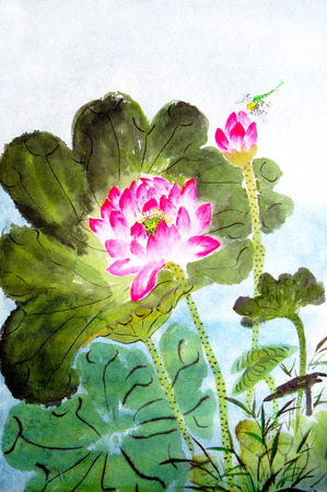 Traditional Chinese painting of lotus photo