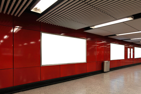Blank Billboard in metro subway station shot in asia, hong kong, great for your copy space photo