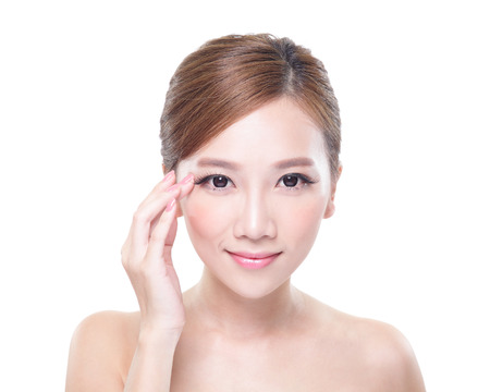 woman eye care concept - portrait of the woman with beauty face isolated on white background, asian Stock Photo