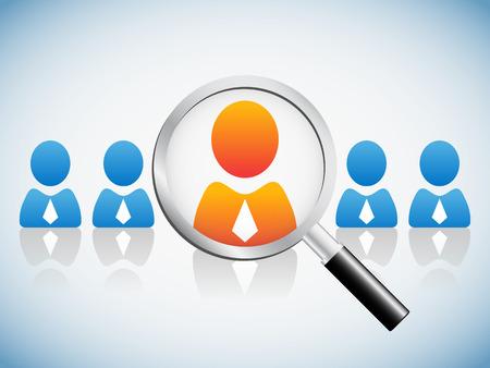 interview job: Concepto de recursos humanos, lupa buscando gente