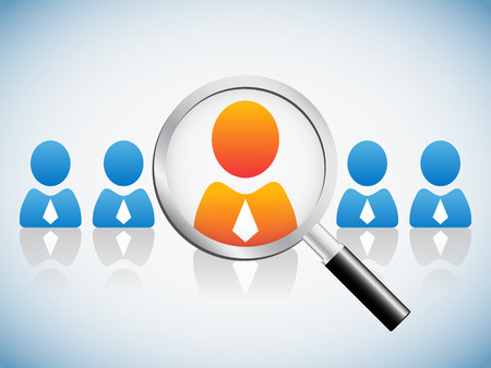 select: Human resource concept, magnifying glass searching people
