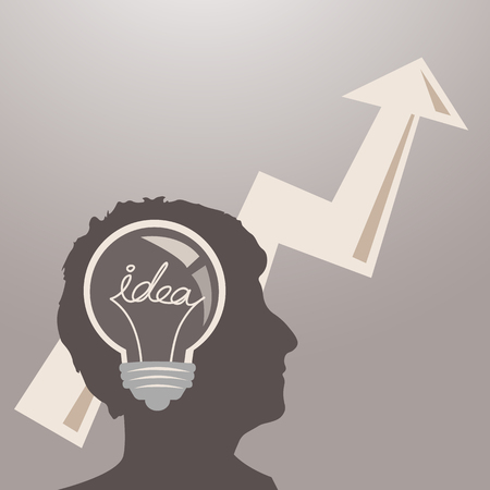 Business man brain with idea light bulb and up forward arrow, concept of making big idea - Grace_Series Illustration