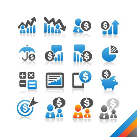 Business Finance icon vector - Simplicity Series - Three color version icons vector Vector