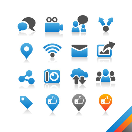 Social media icons vector - Simplicity Series - Three color version icons vector Vector