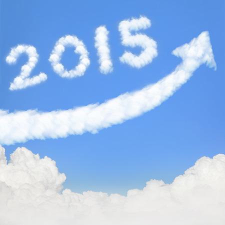blue  sky: felice anno nuovo 2015, Go Go Go! nuvola bianca e cielo blu sulla giornata di sole.