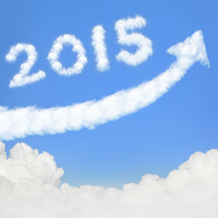 happy new year 2015, Go Go Go! white cloud and blue sky on sunny day. photo