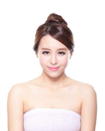 close up of attractive Skin care woman face isolated on white background, asian Stock Photo