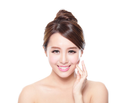 attractive woman smile face with health skin isolated on white background, asian Stock Photo