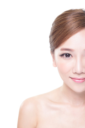 half body: portrait of the woman with beauty face and perfect skin isolated on white background, asian