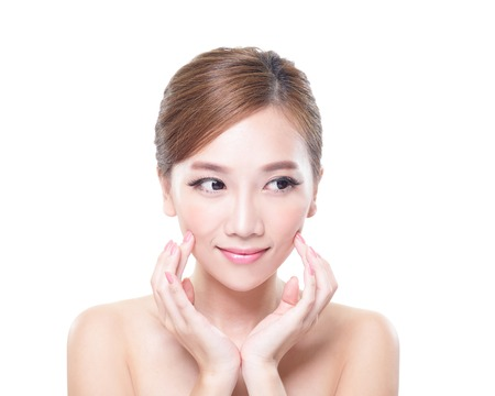 skin care woman: Beautiful Young Skin care Woman look to empty copy space isolated on white background, asian