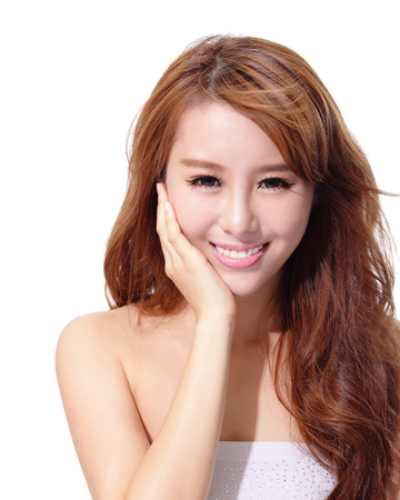 Beautiful woman face isolated on white background, concept for skin care and sun block UV care, asian beauty photo