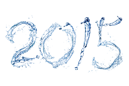 Happy New Year 2015 by Pure splash of water isolated on white background photo