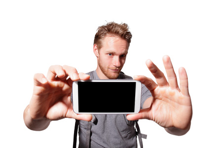 happy man selfie by smart phone isolated on white background, caucasian photo