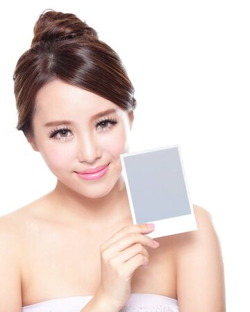 body care: Beauty Skin care woman showing white billboard (empty Copy space), with clean face skin, concept for skin care, asian