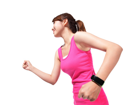 wearable: Health sport woman wearing smart watch device with touchscreen doing exercises isolated on white background, asian