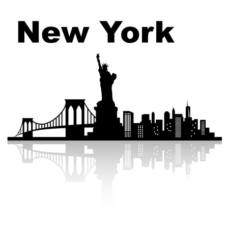 New york skyline - black and white vector illustration Иллюстрация