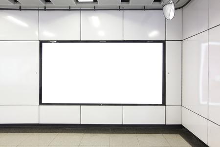 blank billboard: Blank Billboard in metro subway station  Stock Photo