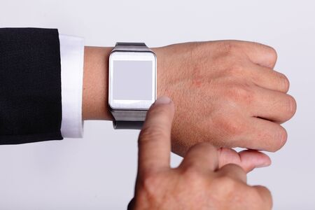 Hand serving smart watch isolated, copy space is great for your design photo