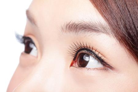 長いまつげと美しい女性の目。アジアのモデル