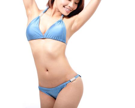 Красивое тело женщины в сексуальном купальнике, изолированные на белом фоне Фото со стока