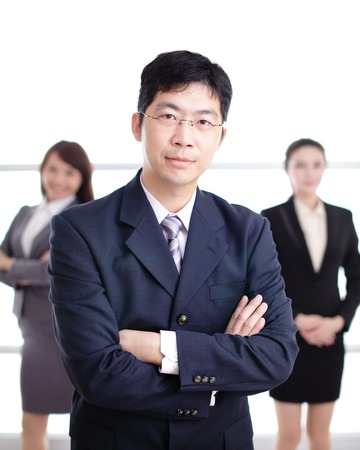 asia women: Group of success business people team in office, asian