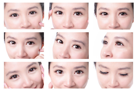 collection of beauty woman eyes with long eyelashes. asian beauty photo