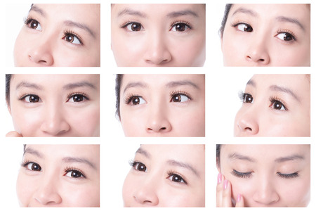 eyelid: collection of beauty woman eyes with long eyelashes. asian beauty