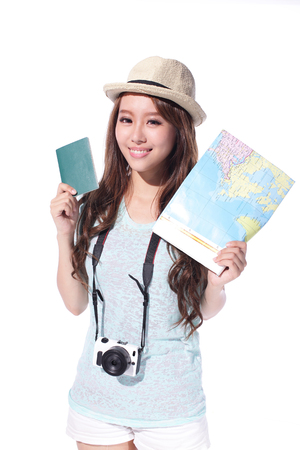 Happy woman tourist travel holding passport and camera and map isolated on white background, asian photo