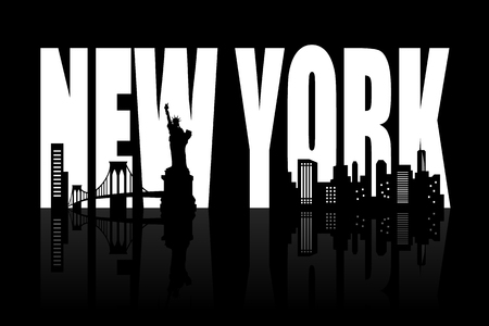 vue ville: New york skyline - noir et blanc illustration vectorielle