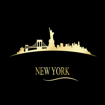 Luxury golden New york skyline illustration Vector