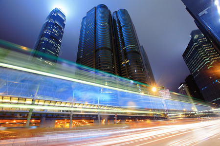city in the night: Traffic in Hong Kong at night Stock Photo