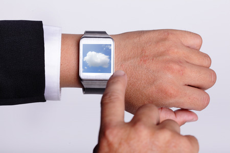wearable: Cloud computing tech with smart watch concept Stock Photo